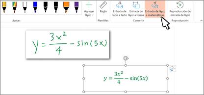 Ecuación escrita a mano y misma ecuación convertida a texto con formato y números