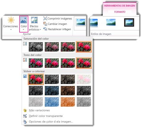 Menú del botón Color abierto desde la pestaña Formato en Herramientas de imagen