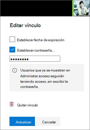 Configuración de captura de pantalla de editar vínculo