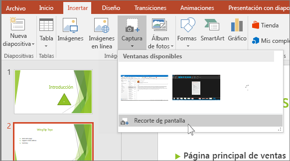 menú desplegable de recorte de pantalla en powerpoint