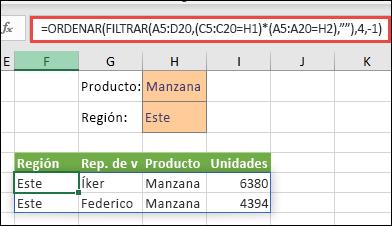 """Uso de FILTRAR con la función ORDENAR para devolver todos los valores en el rango de la matriz (A5:D20) que tengan """"Apple"""" (manzana) Y estén en la región """"East"""" (este), y después colocar las unidades en orden descendiente."""
