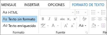 Opciones de formato de mensaje de la pestaña Aplicar formato al texto