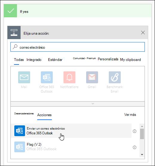 Elija enviar una notificación por correo electrónico como una acción en Power Automatic