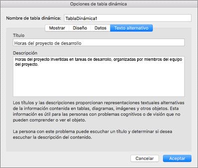 Cuadro de diálogo Texto alternativo para una Tabla dinámica de Excel.