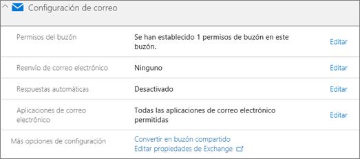 Captura de pantalla: Convertir buzones de usuario en el buzón de correo compartido