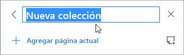 Captura de pantalla del título de una colección que se está editando