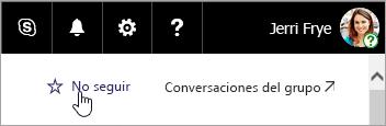 Captura de pantalla del botón Seguir en un sitio de SharePoint.