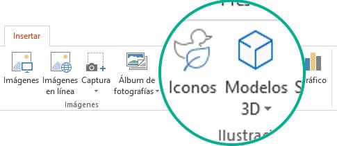 Los botones de Iconos y Modelos 3D en la pestaña Insertar de la cinta de la barra de herramientas en Office 365