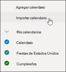 Una captura de pantalla del calendario de importación