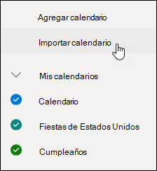 Una captura de pantalla del botón de calendarios descubrir