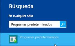Captura de pantalla de programas predeterminados