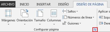 En la pestaña DISEÑO DE PÁGINA, el icono Configurar página en la parte inferior derecha abre la ventana Configurar página.