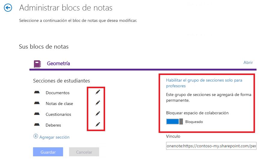 Opciones de administración de blocs de notas
