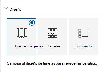 Configuración de diseño del elemento web sitios