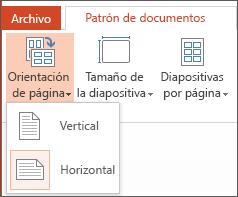 Menú Orientación de documento