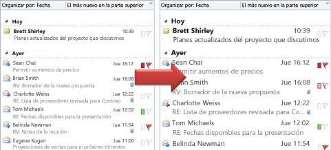 Ilustración de cómo aumentar el tamaño de la fuente de la lista de mensajes