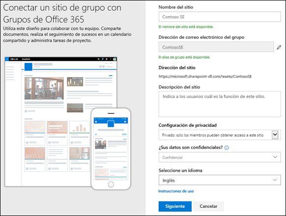 Crear un sitio de grupo de SharePoint