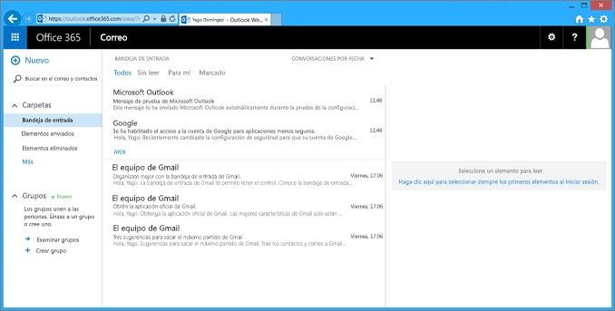 Después de importar correo electrónico desde el archivo pst, aparecerá también en OWA