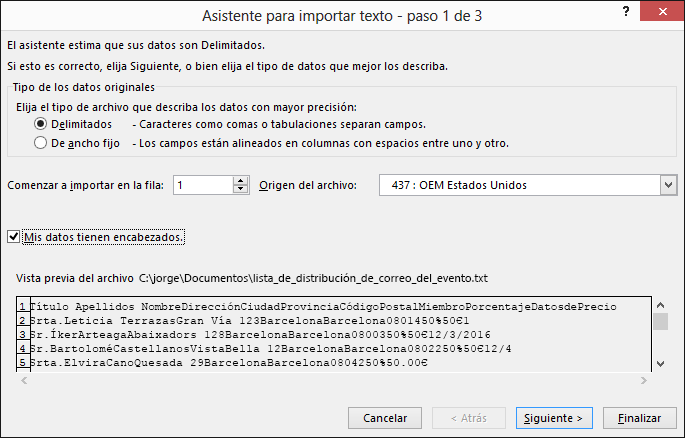 Obtener datos externos desde texto en Excel, Asistente para importar texto, paso 1 de 3