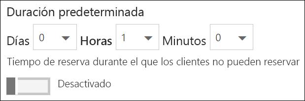 Captura de pantalla: establecer la duración predeterminada del servicio