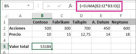 Una fórmula de matriz típica
