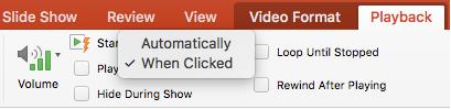 Opciones para el comando de inicio de la reproducción de vídeo de PowerPoint