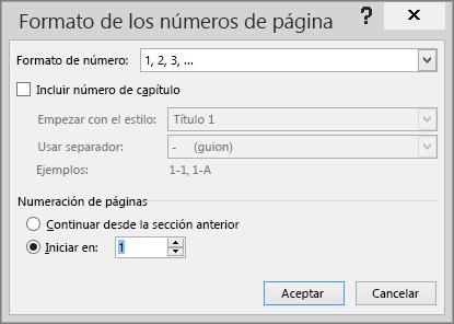 Se muestran las opciones del cuadro de diálogo Formato de número de página.