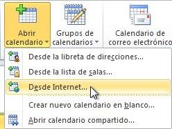 Comando Abrir calendario desde Internet de la cinta de opciones