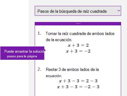 Pasos de solución en el panel de tareas de matemáticas