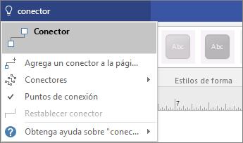 Captura de pantalla de la herramienta ¿Qué desea hacer? que muestra los resultados de Conectarse.