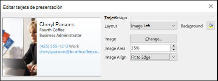 Puede agregar una imagen a las tarjetas de presentación electrónica.