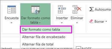 Botón para dar formato a datos como tabla