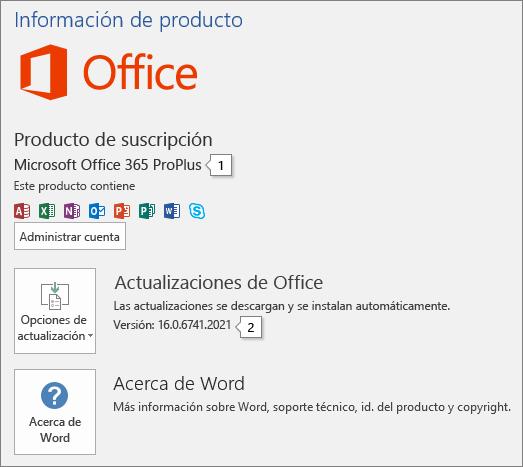 Captura de pantalla de la página de la cuenta que muestra el nombre del producto de Office y el número completo de versión