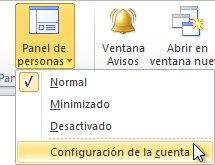 Comando Configuración de la cuenta en el panel de personas de la cinta de opciones
