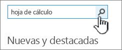 """Campo Buscar una aplicación con el texto """"Hoja de cálculo"""" y el botón de búsqueda resaltado"""