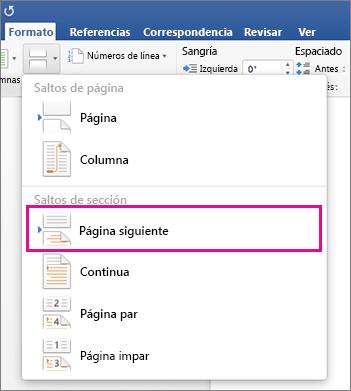 Iniciar la numeración de páginas más adelante en el documento de ...
