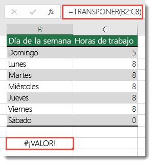 Error #¡VALOR! en la función TRANSPONER