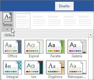 Opciones de temas en la cinta de opciones de Word