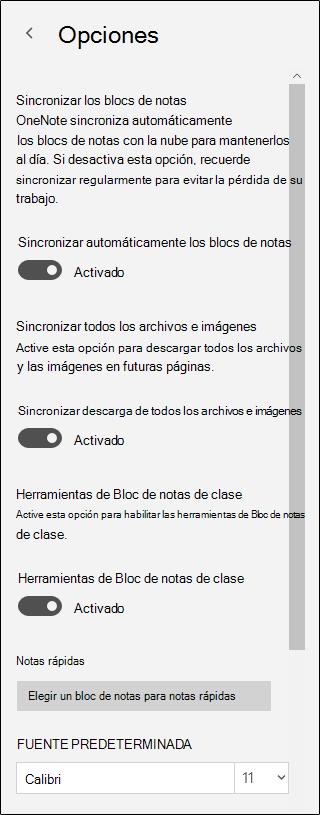 Opciones de herramientas del Bloc de notas de clase
