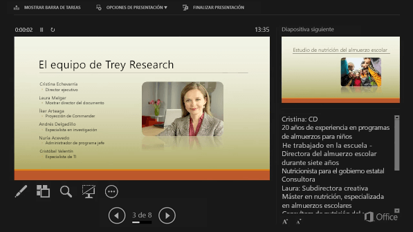 Vista Moderador en PowerPoint 2016, con un círculo alrededor de las notas del orador