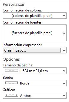 Captura de pantalla de Publisher personalizar y opciones de selecciones.