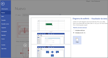 Primera página del Asistente para la plantilla de diagrama de auditoría