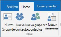 Seleccione nuevo contacto para crear un nuevo contacto.