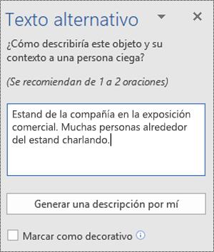 Cuadro de diálogo Texto alternativo en Word para Windows
