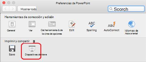 En el cuadro de diálogo Preferencias de PowerPoint, en la sección Imprimir y Compartir, haga clic en Presentación con diapositivas.