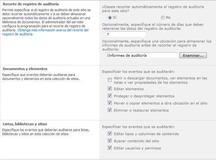 Página Definir configuración de auditoría
