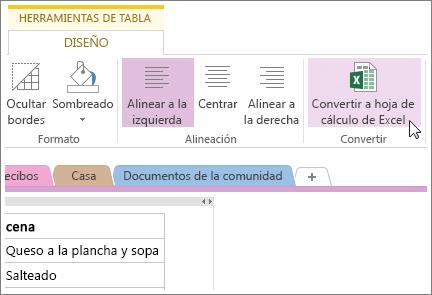 Convertir una página de OneNote a una hoja de cálculo de Excel