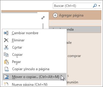Captura de pantalla de cómo mover o copiar una página en OneNote 2016.