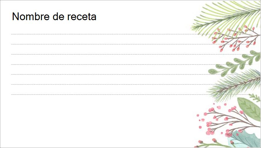 Imagen de una tarjeta de recetas con temas festivos