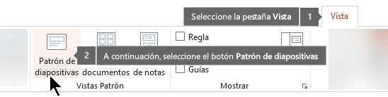 Utilice la pestaña Vista en PowerPoint para cambiar a la vista patrón de diapositivas